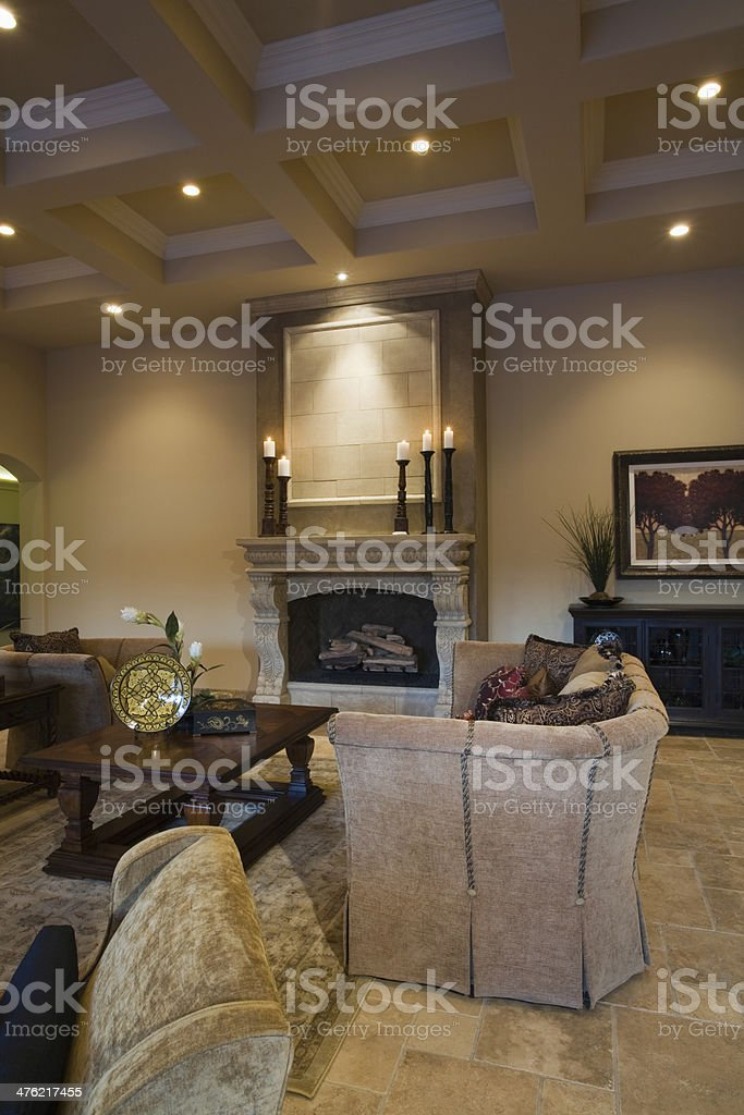 Fireplace And Armchair In Living Room stock photo