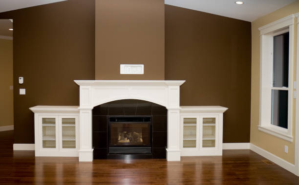 Fireplace and Living Room in New Home