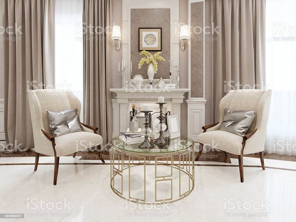 Fireplace area neoclassical style stock photo