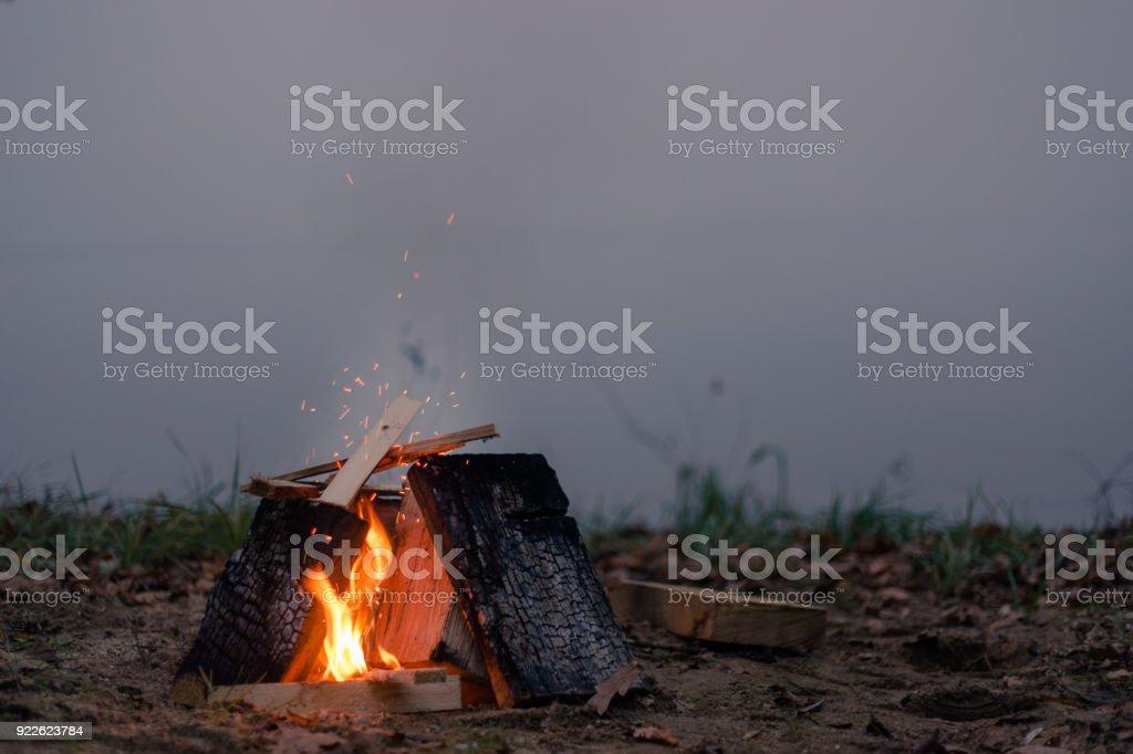 Fireplace at misty coast stock photo