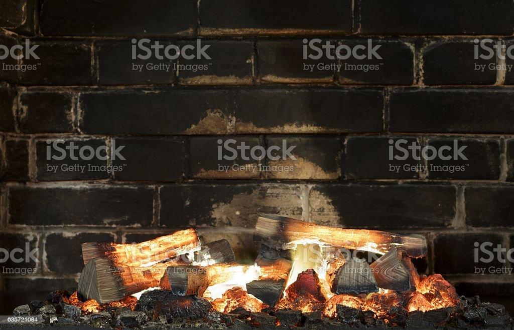 Fireplace, Bricks wall. Fireplace background stock photo