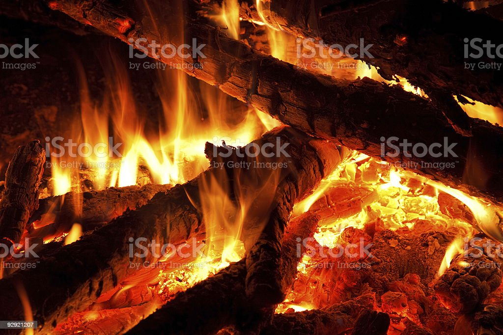 Fireplace close-up royalty-free stock photo