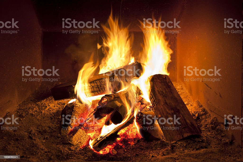 Fireplace flames in winter stock photo