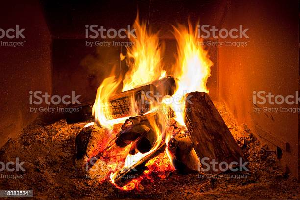 Photo of Fireplace flames in winter