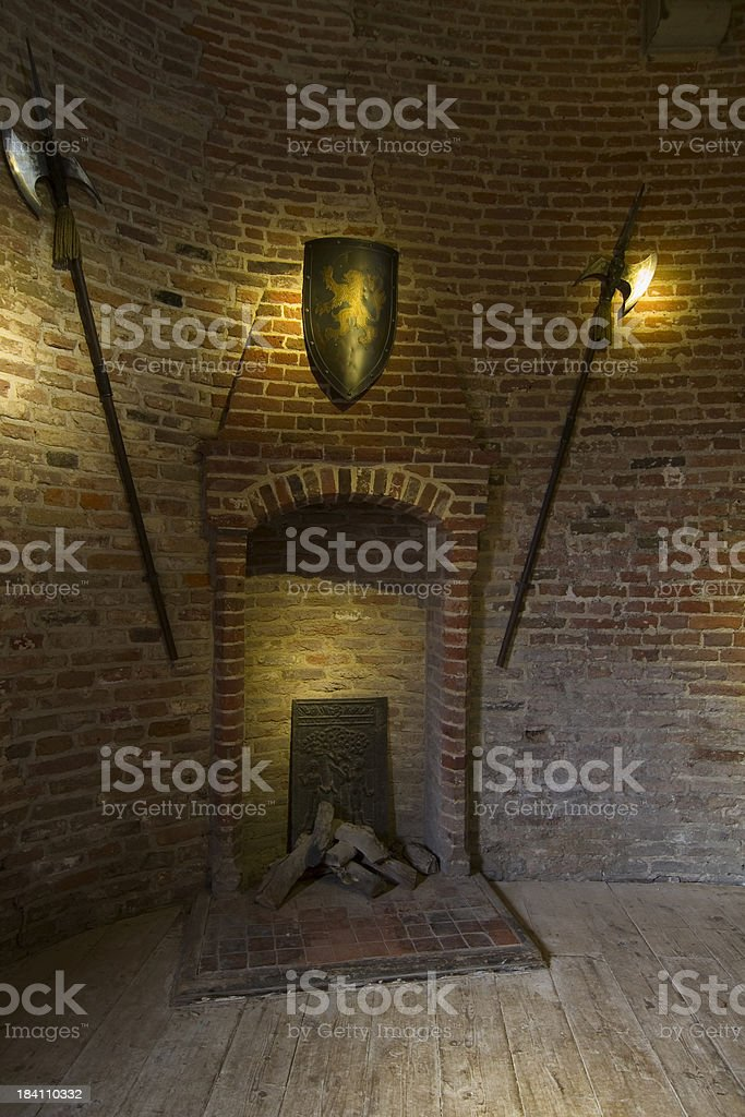 Fireplace in Castle Muiderslot royalty-free stock photo