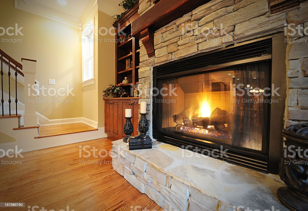 Fireplace in Luxury Home Interior royalty-free stock photo