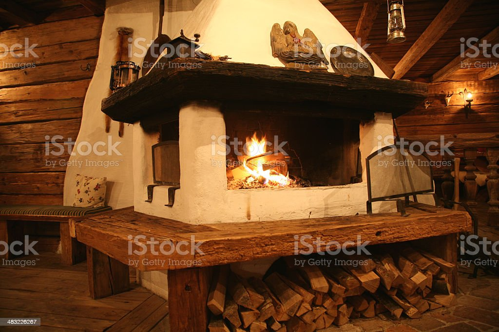 Fireplace Inside An Old Cottage Royalty Free Stock Photo