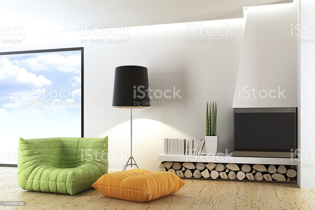 Fireplace Living Room royalty-free stock photo