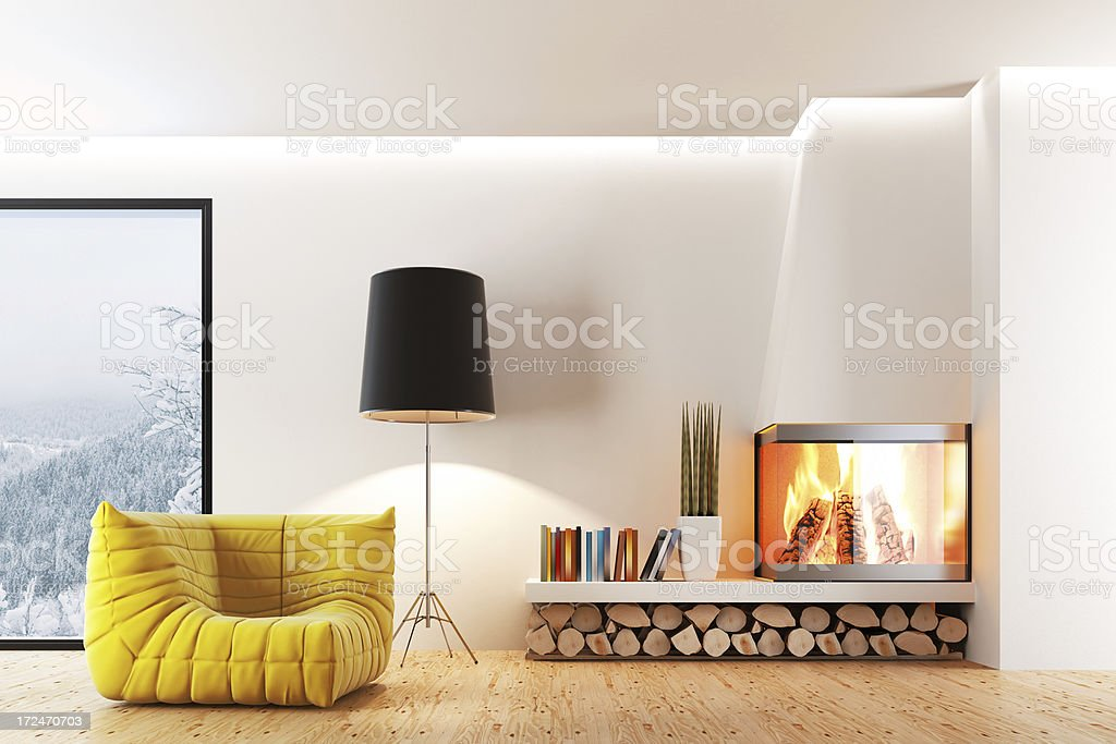 Fireplace Living Room stock photo