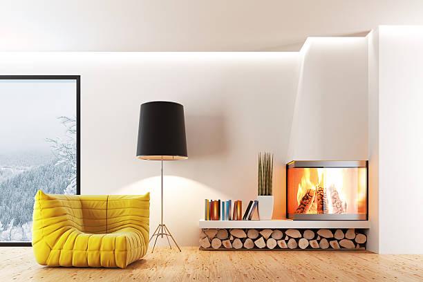 Fireplace Living Room stock photo