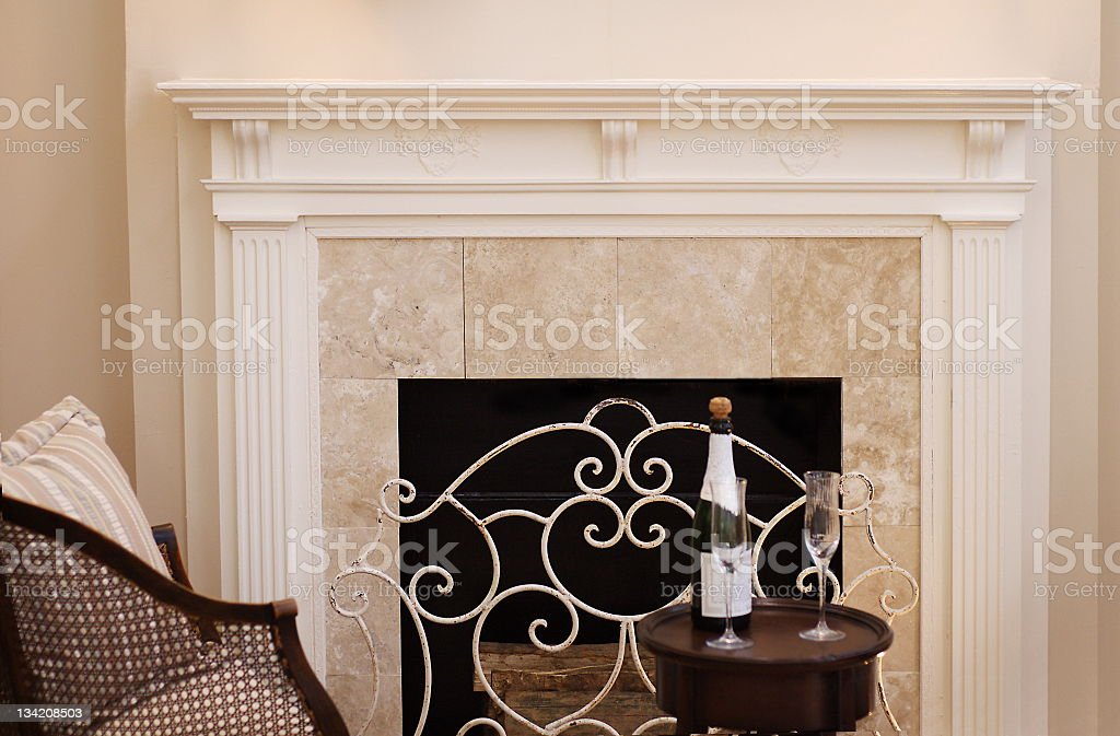 Fireplace Mantle stock photo
