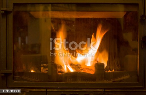 View of Flame in Fireplace