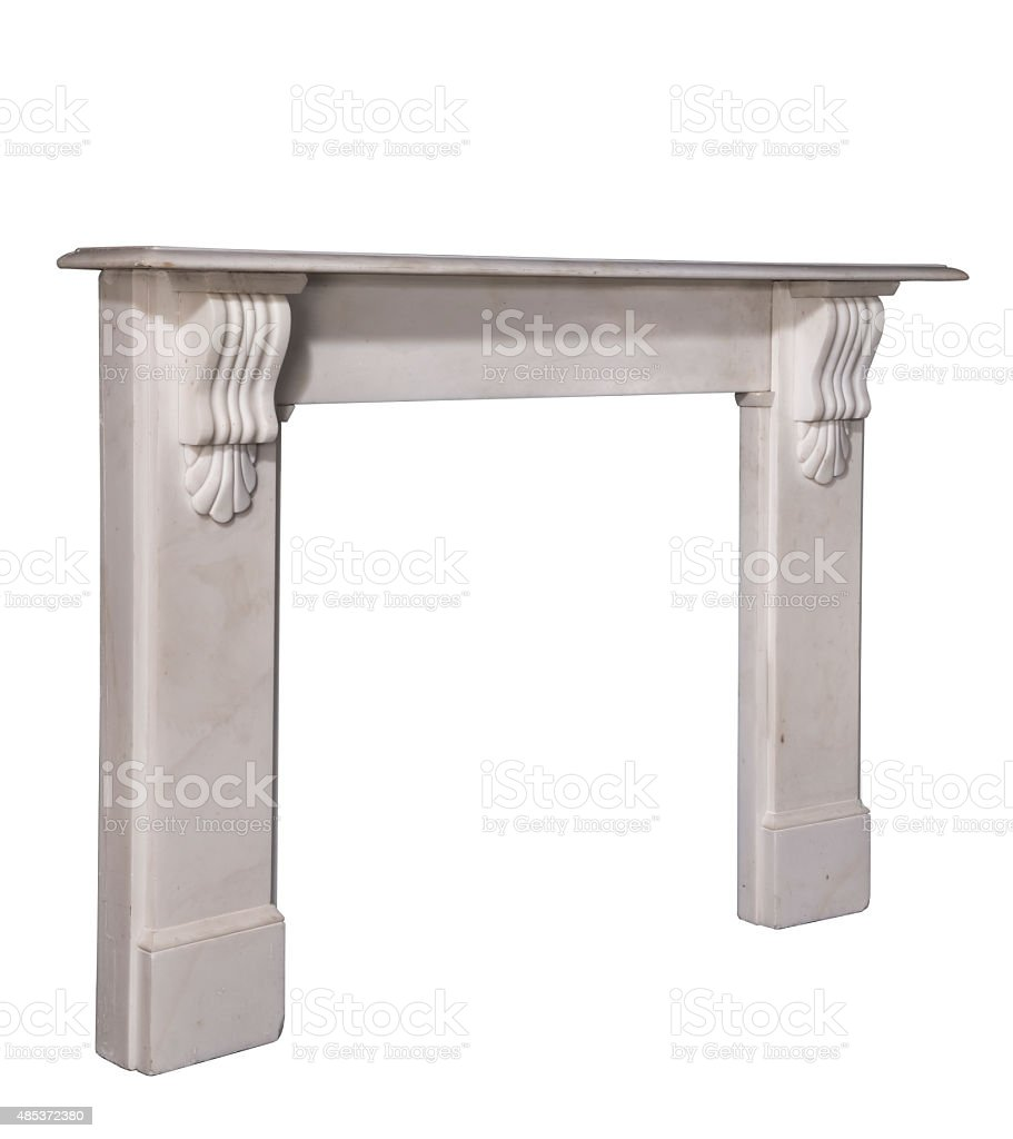 Fireplace surround carved white marble isolated stock photo