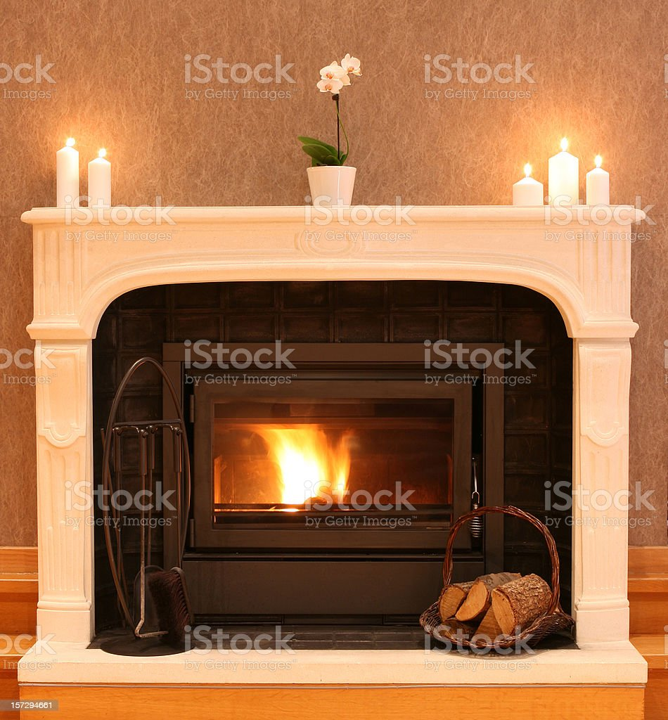 Fireplace with Burning Firewood in the Cozy Living Room stock photo