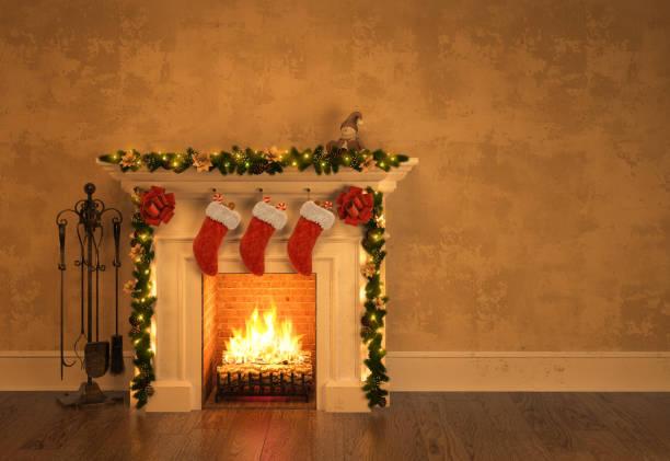 kamin mit weihnachten dekoration 3d-rendering - kamin wohnzimmer stock-fotos und bilder