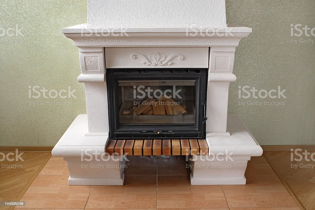 Fireplace without fire royalty-free stock photo