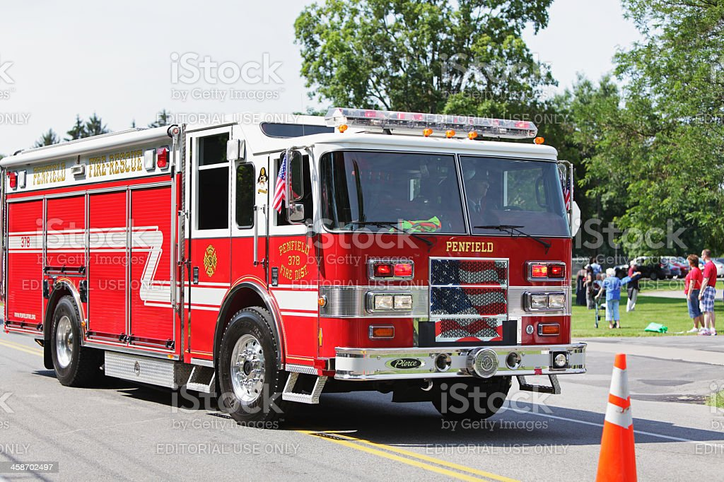Fire-Rescue Truck Fire Engine in July 4th Parade stock photo