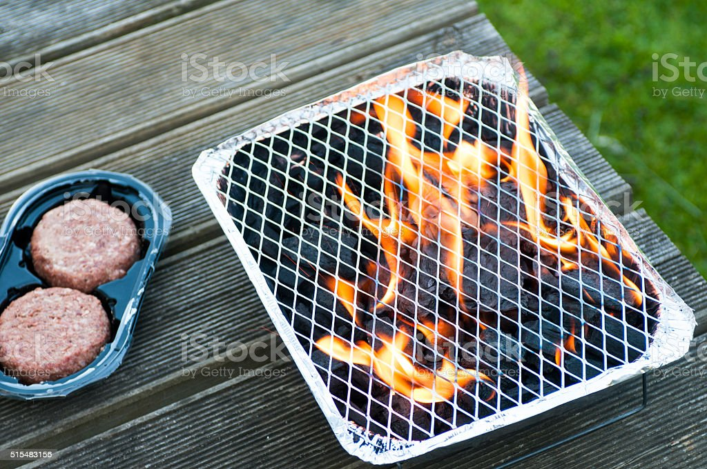 Firery Disposible Barbecue stock photo