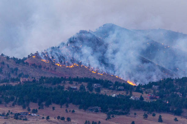 Fires Burn in the Foothills from the Cal Wood Fire stock photo