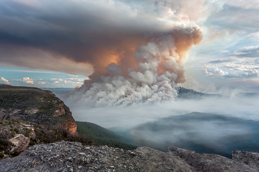 Fires Burning On Mount Solitary Plumes Like Volcano Stock Photo - Download Image Now