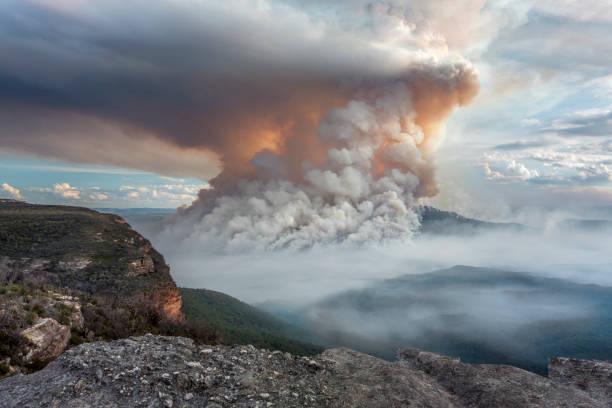 bosbranden branden op mount eenzame pluimen zoals vulkaan - bosbrand stockfoto's en -beelden