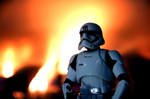 Vancouver, Canada - July 9, 2016: A model of Finn, escaped Stormtrooper from the Star Wars film franchise. The toy is part of the Black Series, from Hasbro.