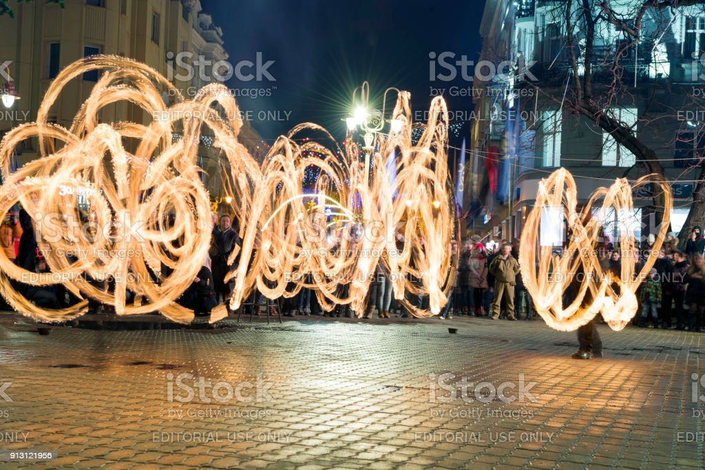 fireshows at a rally memorial procession with torches stock photo