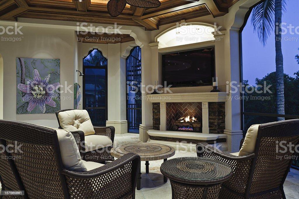 Fireside on the Lanai stock photo