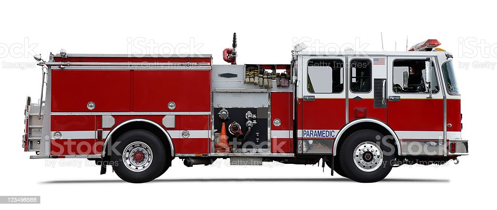 Firetruck isolated on white stock photo
