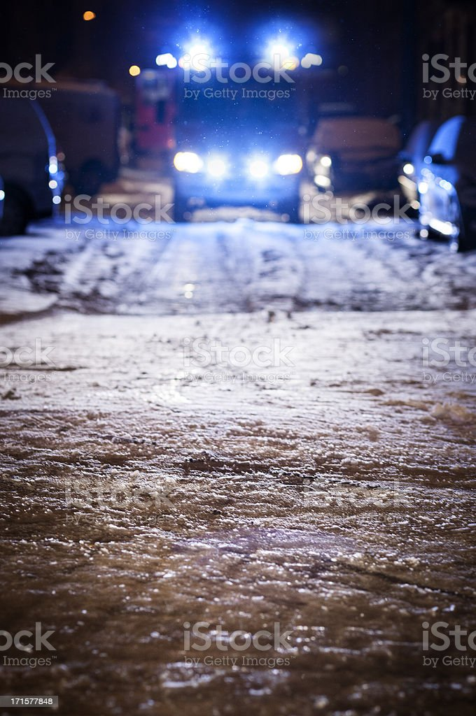 Firetruck on icy road royalty-free stock photo