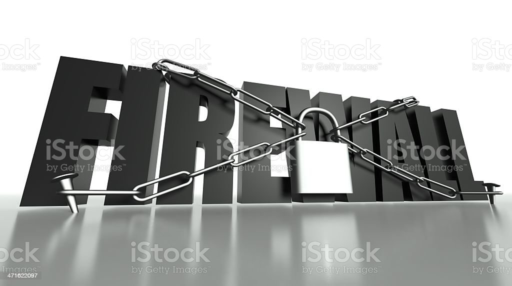 Firewall concept, safety padlock and chain royalty-free stock photo