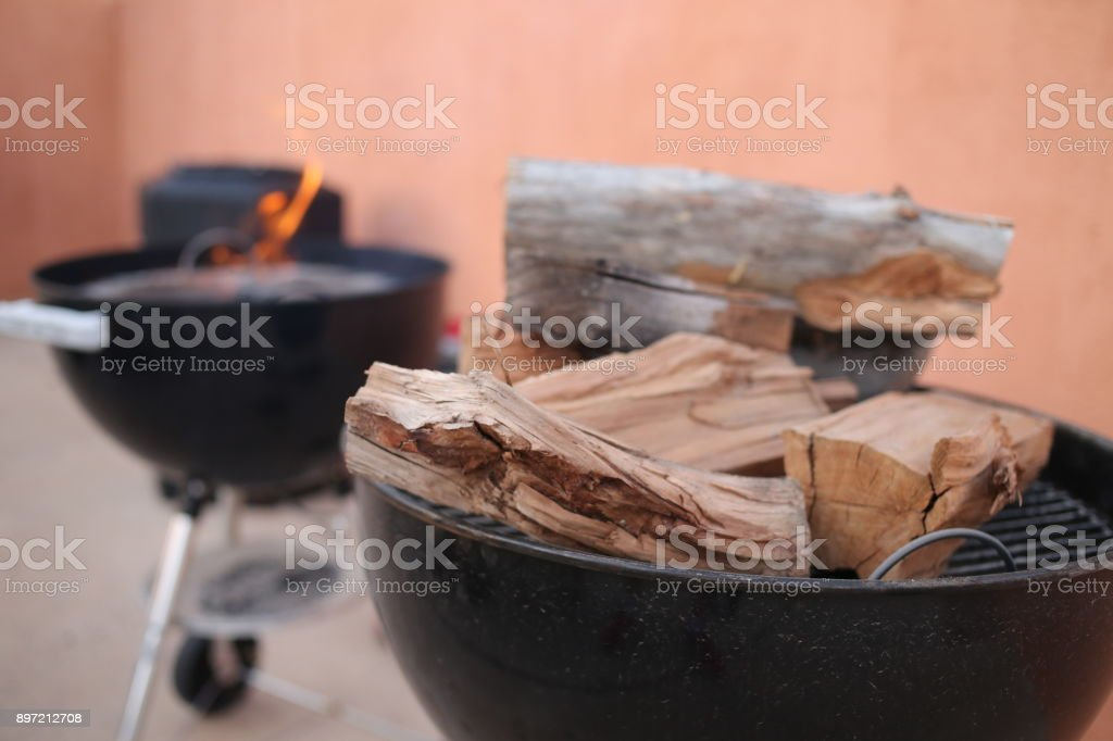 Firewood for barbecue stock photo