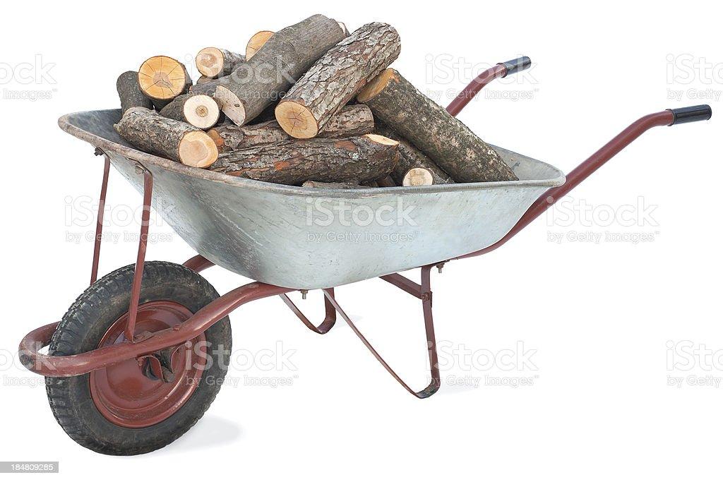 Firewood in an old wheelbarrow stock photo