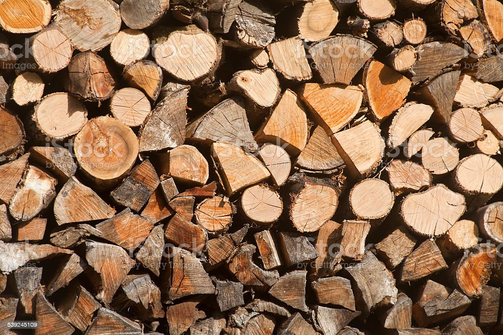 Firewood pile in the sunlight. royalty-free stock photo