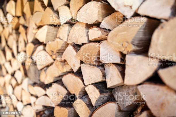 Photo of Firewood stack of natural wood background