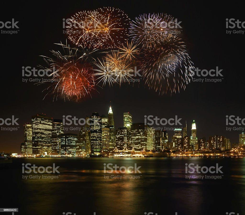 Firework above Manhattan royalty-free stock photo