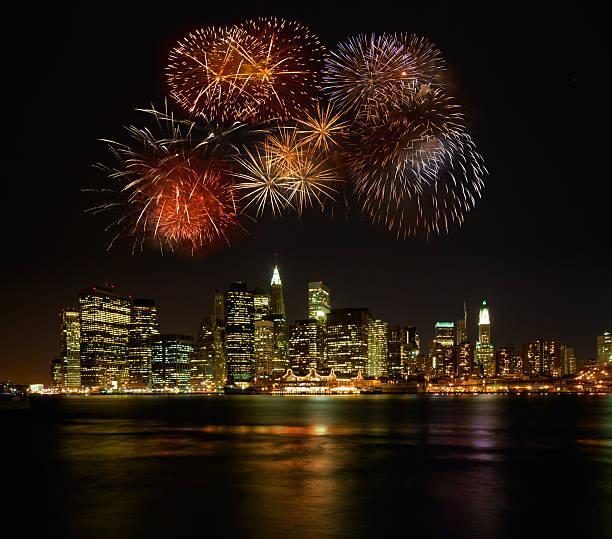 Firework above Manhattan stock photo