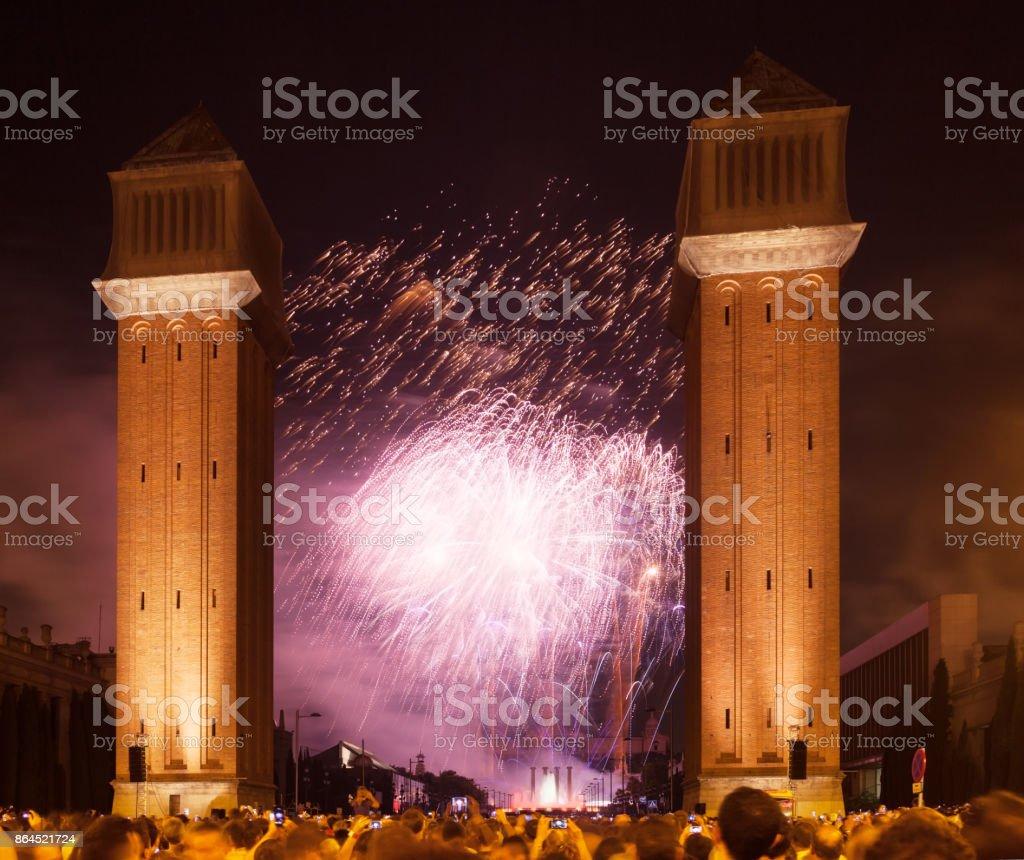 firework at Plaza de Espana. Barcelona, Catalonia stock photo