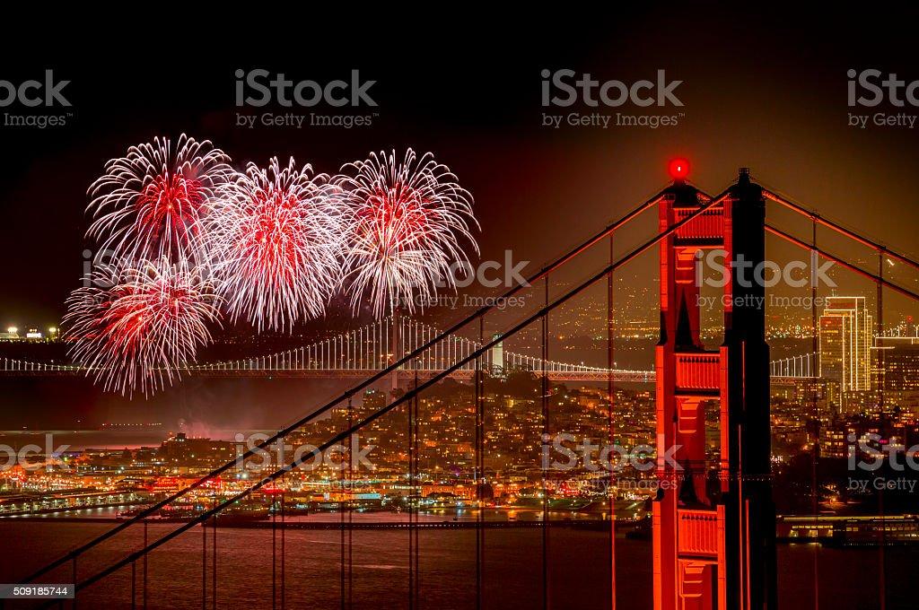 Firework at San Francisco, California stock photo