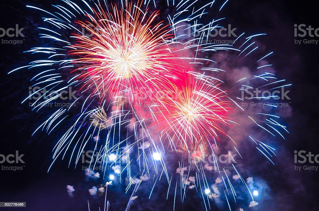 Firework Background - 4th July Independence day celebration Spectacular Firework display , RVA fireworks on the James River, 4th July Independence Day - Richmond, VA, USA 2015 Stock Photo