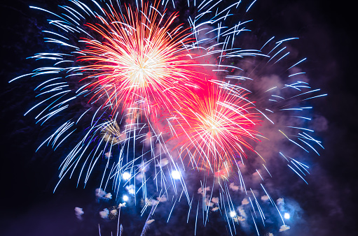 Firework Background 4th July Independence Day Celebration Stock Photo - Download Image Now