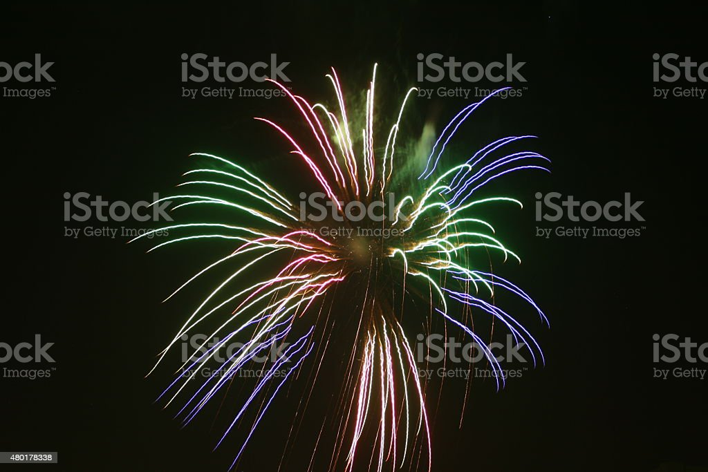 Firework Blast - Red, Green, Blue stock photo
