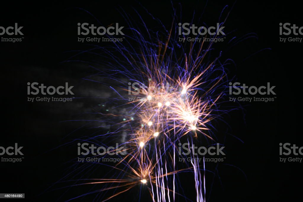 Firework Blasts - Blue and White stock photo