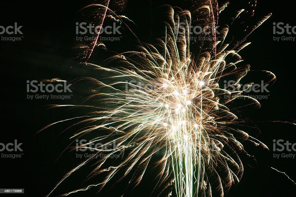Firework Blasts - Green stock photo