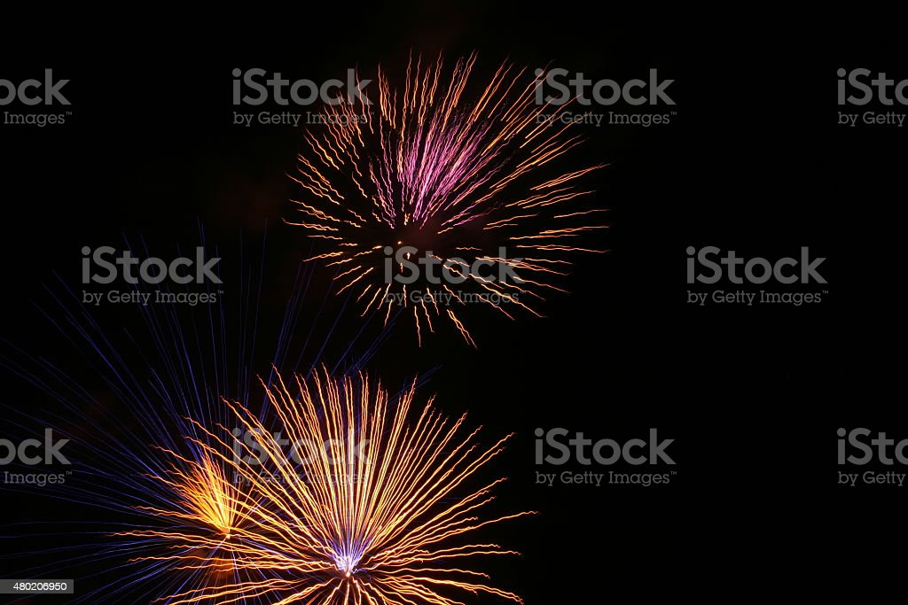 Firework Blasts - Pink and Yellow stock photo