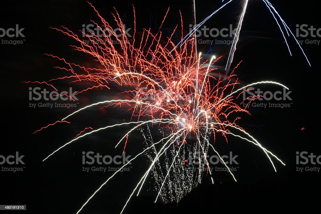 Firework Blasts - Red and White stock photo