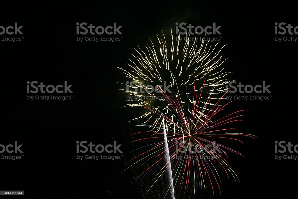 Firework Blasts - White and Red stock photo