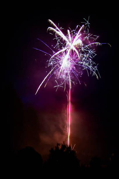 Firework Burst at Night stock photo