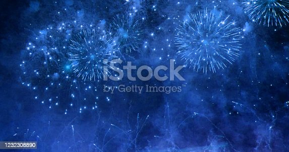 Firework celebrate anniversary happy new year 2020, 4th of july holiday festival. colorful firework in the night time to celebrate national holiday. countdown to new year 2020 party time event.