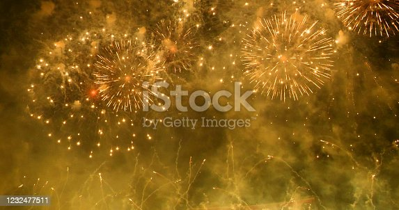 636207118 istock photo Firework celebrate anniversary happy new year 2020, 4th of july holiday festival. colorful firework in the night time to celebrate national holiday. countdown to new year 2020 party time event. 1232477511